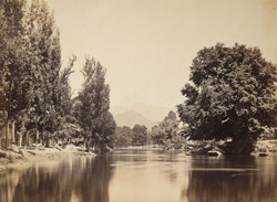 View on the Jhelum, Tukht-i-Suliman in the distance.